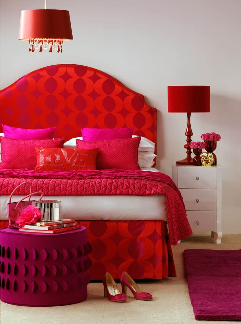 Pink and red layered room