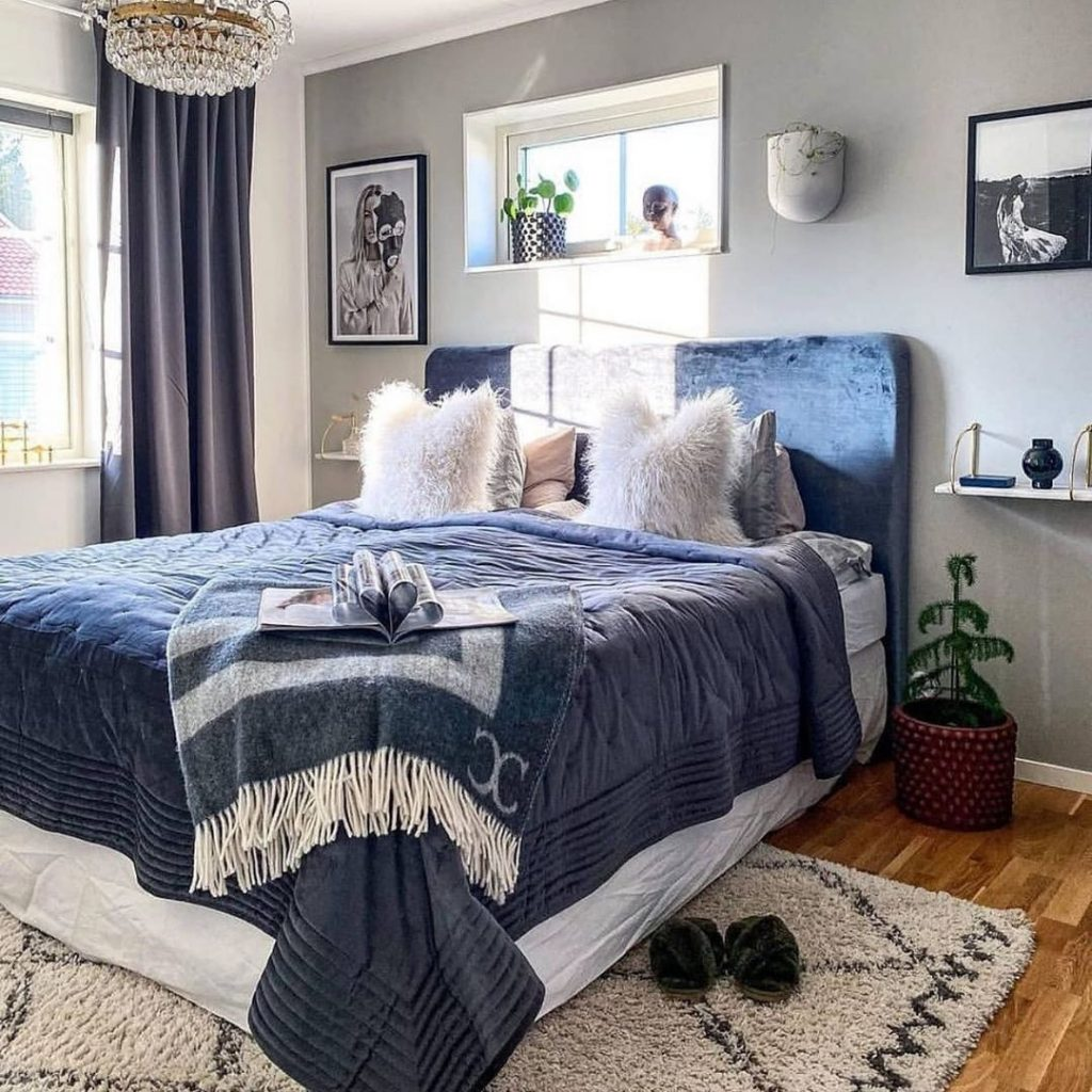 Blue And White Modern Bedroom